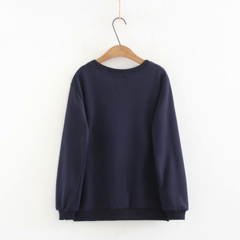 Women Loose Warm Pullover Tees Long Sleeve Sweatshirt Fleece Outwear