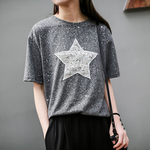 Women Short Sleeve Cotton Top Tees Shining Star T-shirt