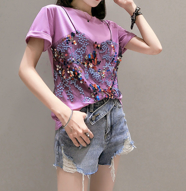 Women's Casual Tops Round Neck Sequin Tees Floral Short Sleeve T-Shirts