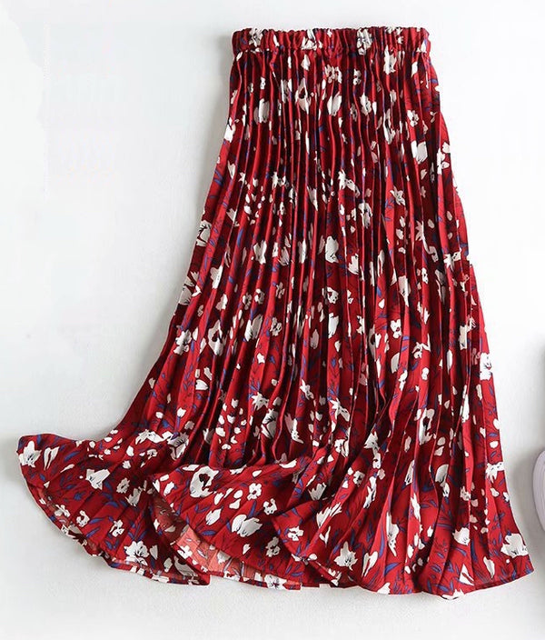 Women's Chiffon Pleated Floral Swing Skirt