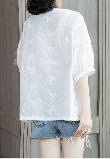 Women Casual Cotton Blouse Short Sleeve Floral Top Cool Summer Clothing