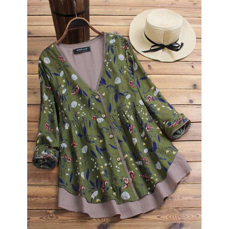 Women Long Sleeve V Neck Casual Tunic Flower Blouse Cotton-Linen Shirt