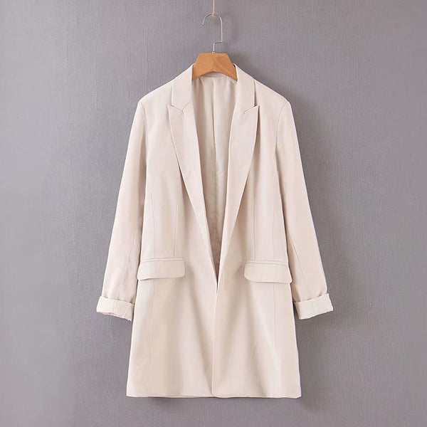 Women's Long Sleeve Jacket Casual Long Suit Coat Blazer