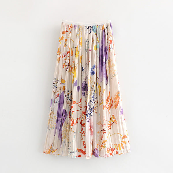 Women's High Waist Pleated A-Line Swing Floral Skirt