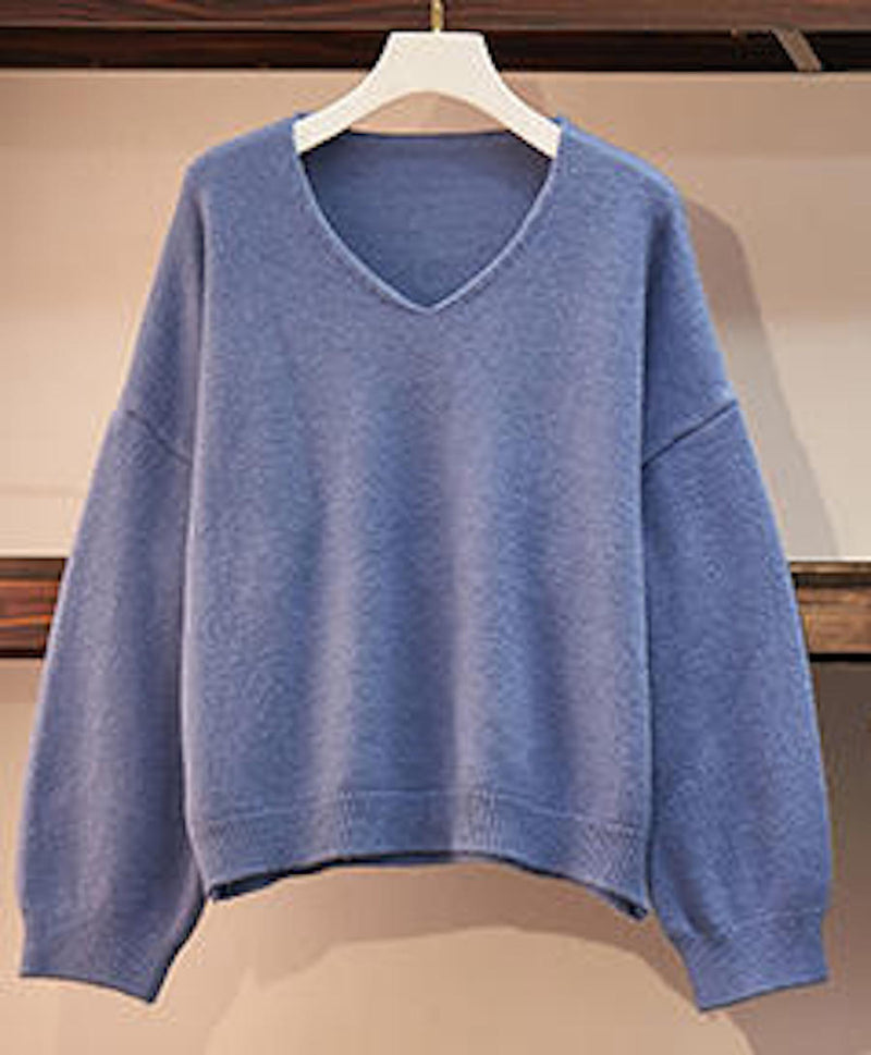 Women's Casual Simple Soft V-neck Pullover Knit Long Sleeve Top Sweater