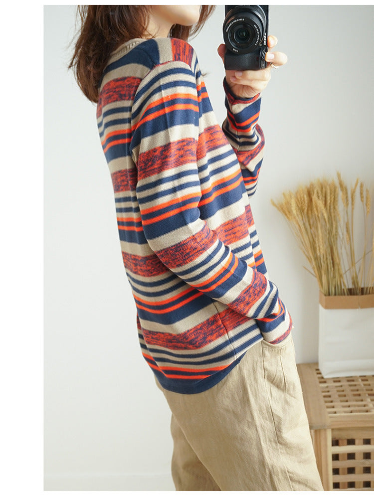 Women Long Sleeve Pullovers Fashion Striped Knitted Lightweight Sweaters