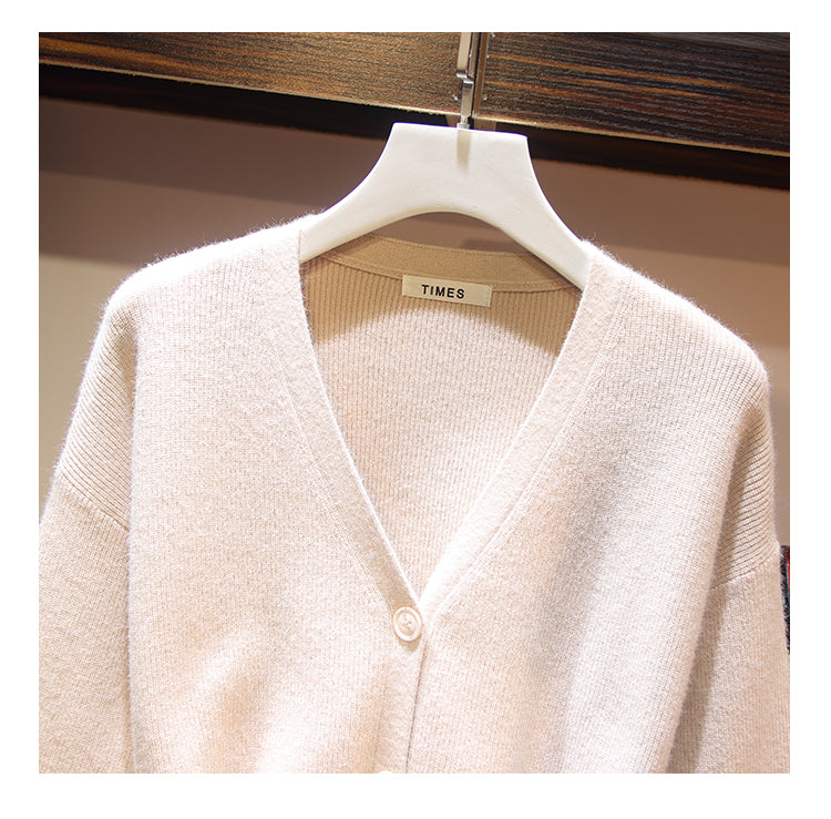 Women's V Neck Knitted Sweaters Long Sleeve Solid Cardigan Tops