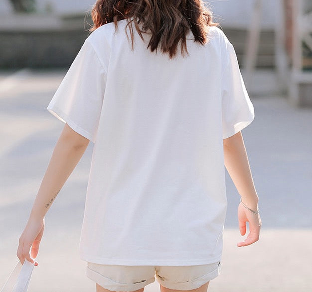 Women's Short Sleeves T-Shirt Casual Tees Basic Cotton Tops Heart Design