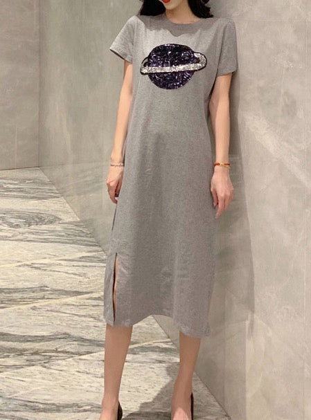 Women's Maxi T-shirt Dress Casual Long Dress Short Sleeve