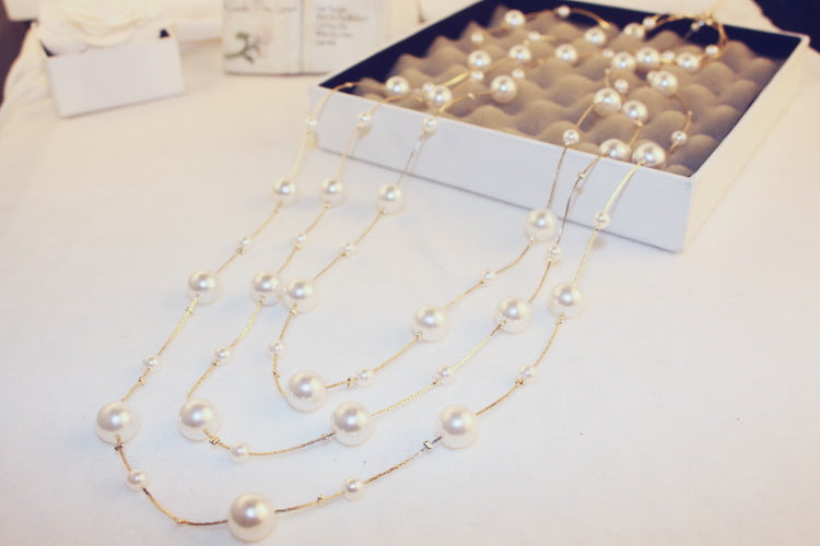 Elegant Women Lady Long White Pearl Necklace