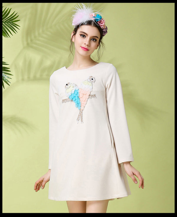 Women /Teenage Girl Spring/Fall Long Sleeve Handmade Parrots Dress