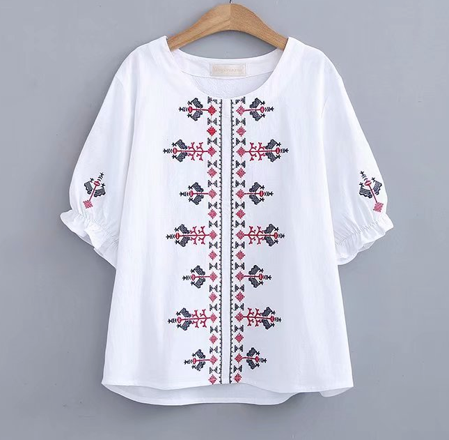 Women's Pullover Shirts Short Sleeve Cotton/Linen Flower Blouse Casual Tops Clothing