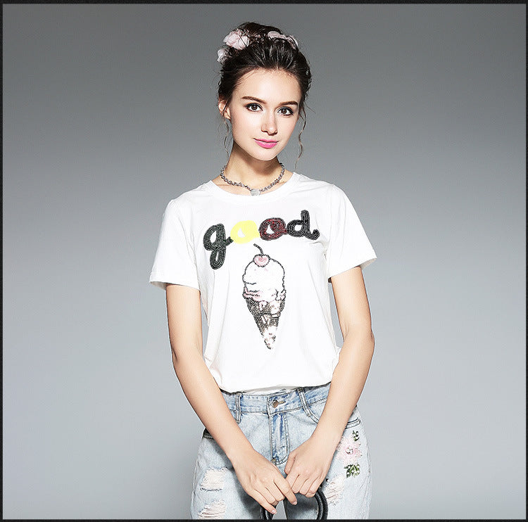 "Women/Teenage Girl Short Sleeve Top Tees Handmade Sequins Word""Good"" and Ice Cream T-shirt"