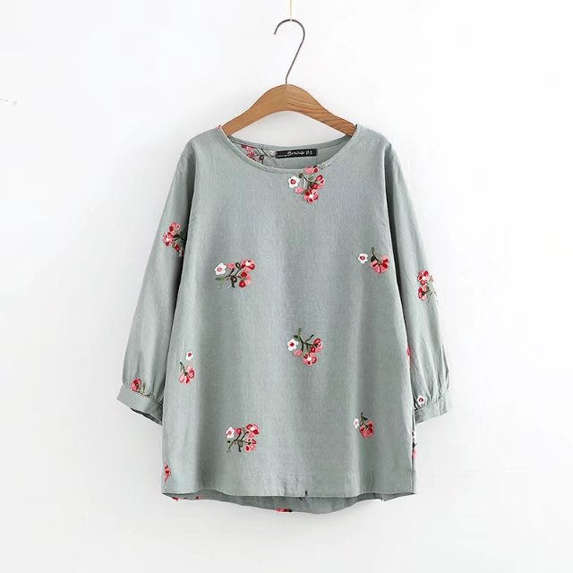 Women's Pullover Shirts 3/4 Long Sleeve Cotton/Linen Flower Blouse Roll Up Casual Tops