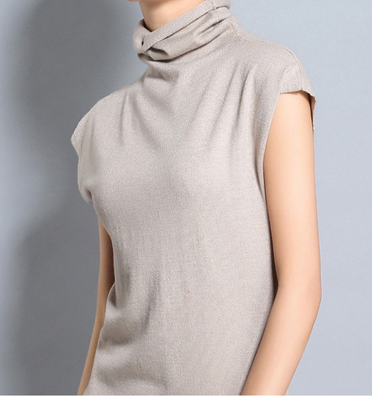 Women TurtleNeck Knit Stretchable Elasticity Sleeveless Cashmere Sweater Vest Dress