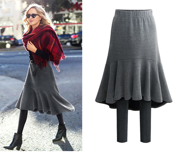 Women 2-in-1 Maxi Skirt With Legging Thick Warm Spring/Fall/Winter Clothing