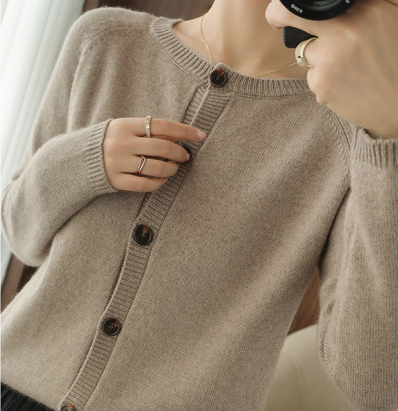 Women Knit Stretchable Elasticity Long Sleeve Cashmere Cardigan Button Up Sweater
