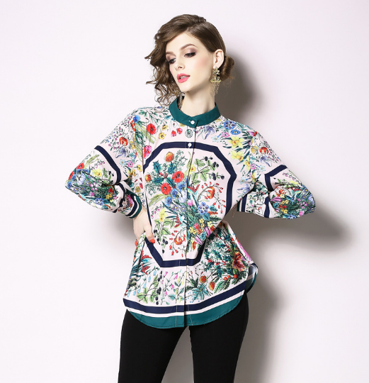 Women's Regular Fit Long Sleeve Blouse Floral Work Shirt