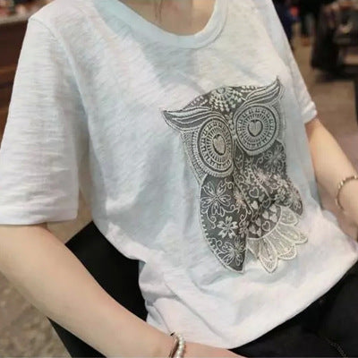 Women Summer Casual Short Sleeve Cotton Owl Top Tees T-shirt