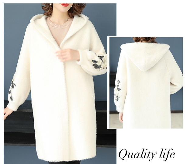Women's Long Sleeve Soft Coat Hooded Cardigan Outwear with Pockets
