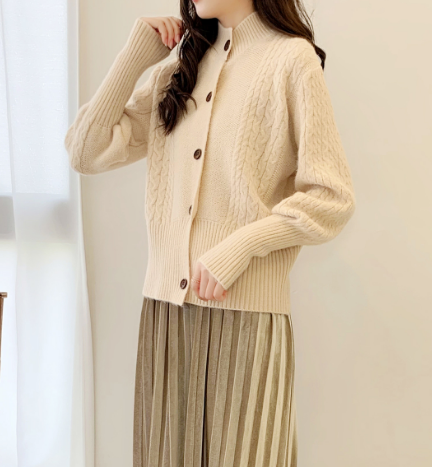Women's Warm Fall/Winter Button-Down Cardigan Cotton Blend Knitted Sweater Top