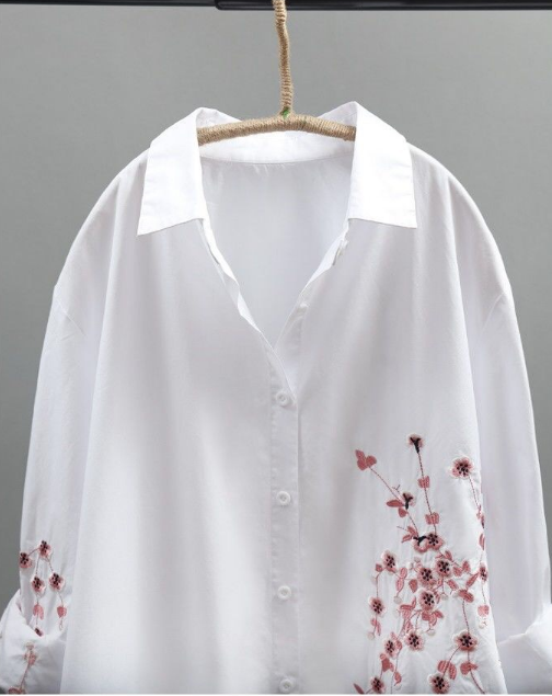 Women's Casual Cotton Blouse Handmade Floral Shirt Dress Long Sleeve Tops