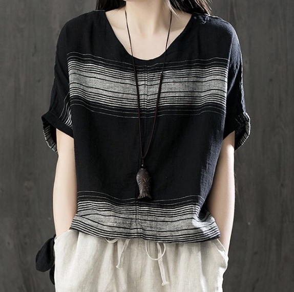 Women Short Sleeve Cotton Linen Blouse/T-shirt Round Neck Top Clothing