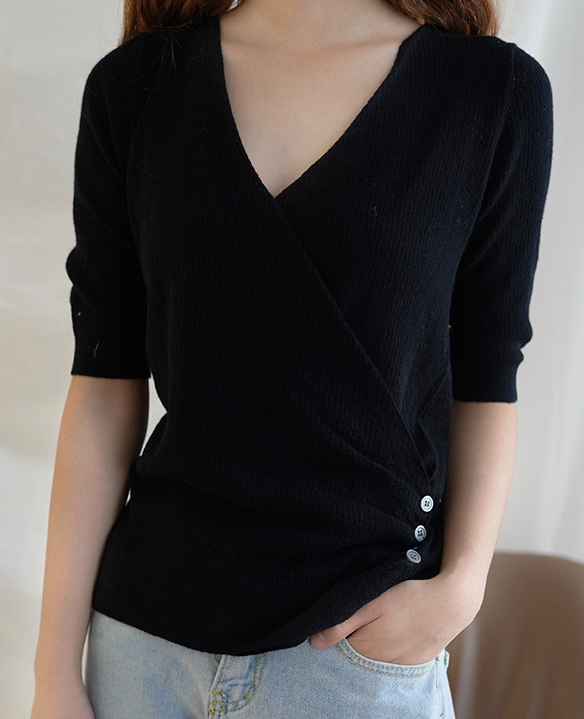 Women V Neck Knit Stretchable Elasticity Long Sleeve Wool Sweater Blouse