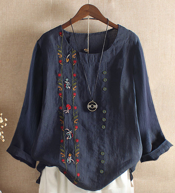Women's Cotton Linen Long Sleeve Blouse Round Neck Tunic/Top Tees Clothing