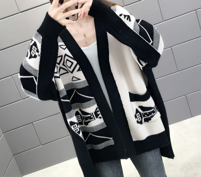 Women V Neck Knit Stretchable Elasticity Long Sleeve Cotton Open Front Cardigan Sweater