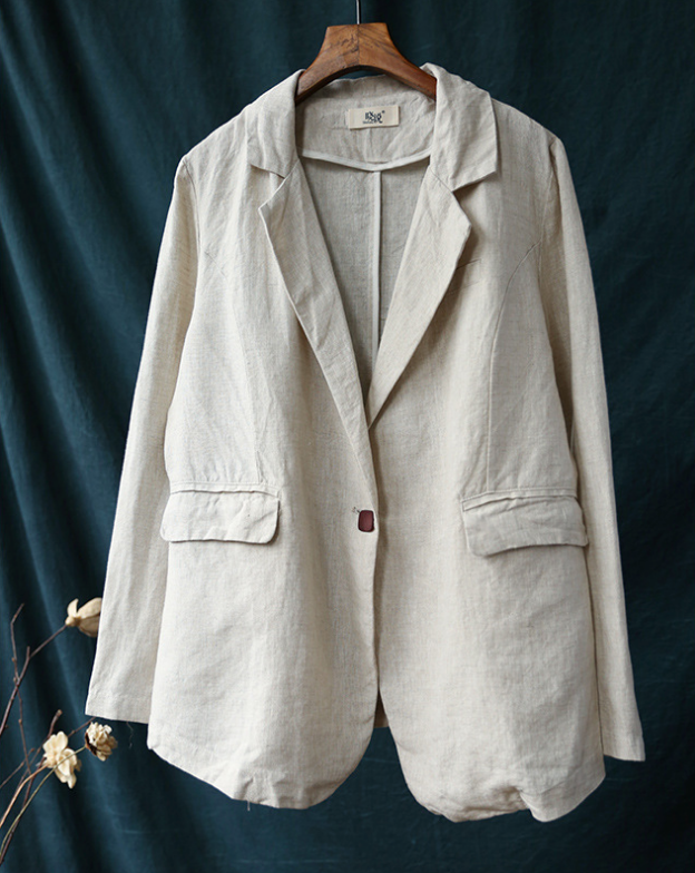 Women's Casual Loose Fit Clothing Coat Long Sleeve Linen Cardigan Jacket