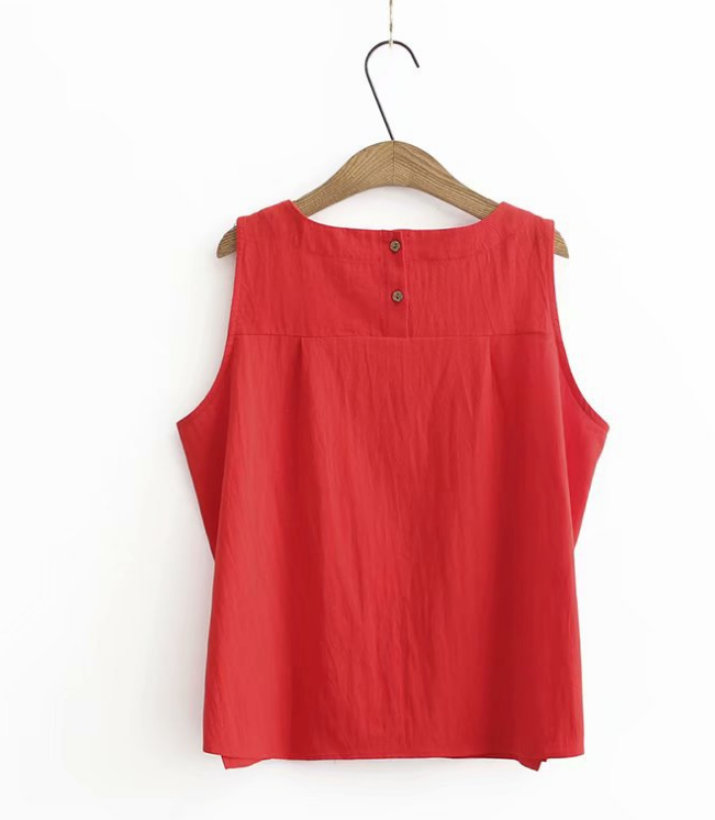 Women's Pullover Shirts Sleeveless Cotton/Linen Flower Blouse Casual Tank Tops Clothing