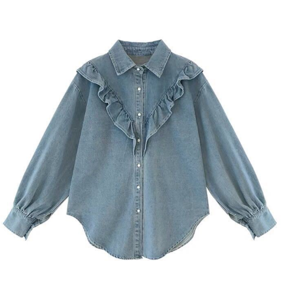 Women's Pearl Button Down Denim Shirt Long Sleeve Cotton Blouse Thin Summer Top Clothing
