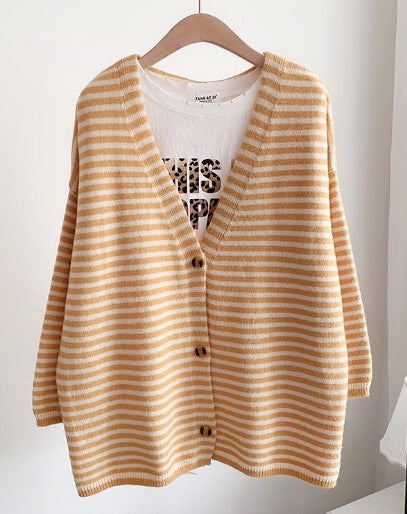 Women's Lightweight Button-Down Cardigan Striped Sweater