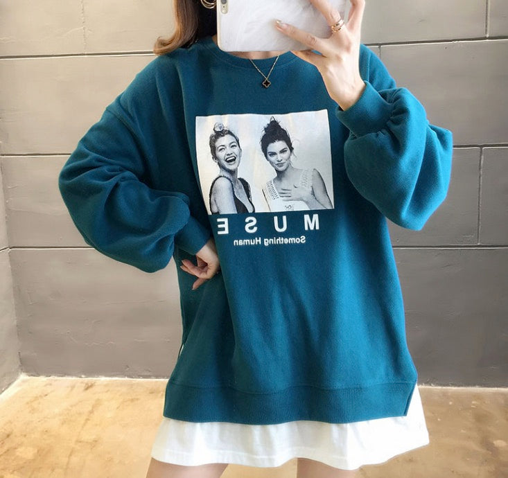 Women's Casual Long Sleeve Tees Round Neck Loose Tunic T Shirt Blouse Warm Tops