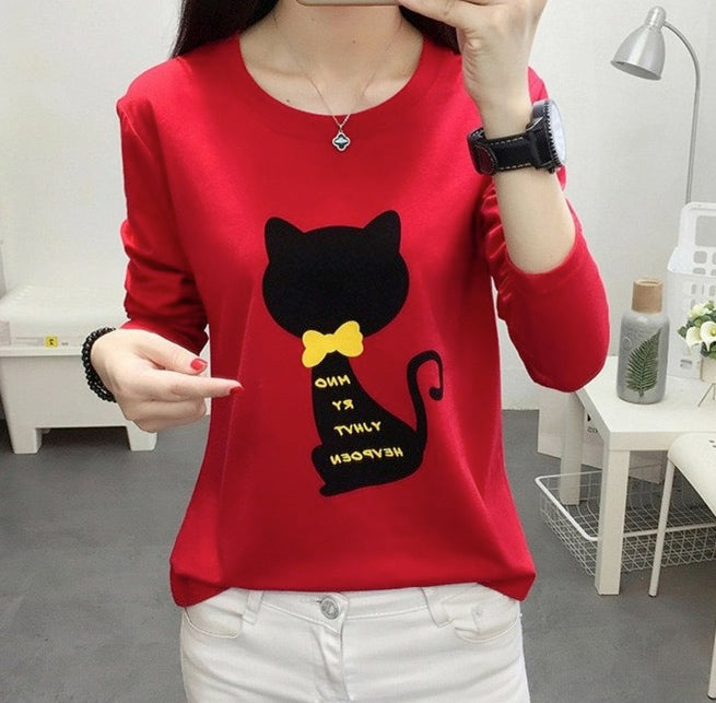 Women's Casual Long Sleeve Tees Round Neck Loose T Shirt Blouse Cat Design Tops