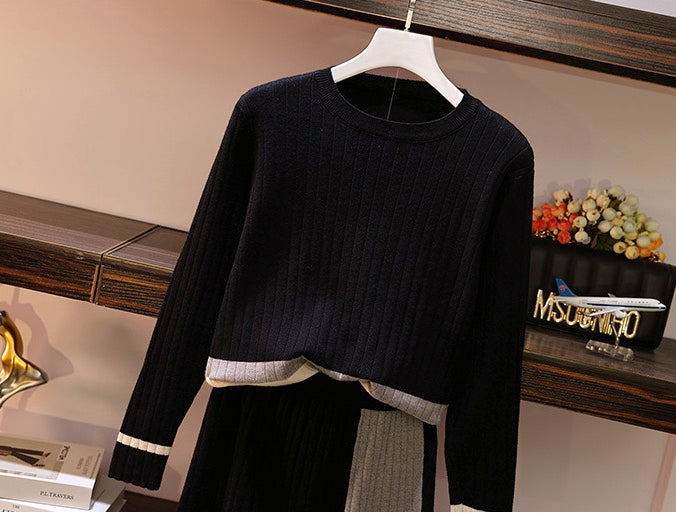Women's Knitted 2 Pieces Outfits Long Sleeve Pullover Sweater Top + Skirt
