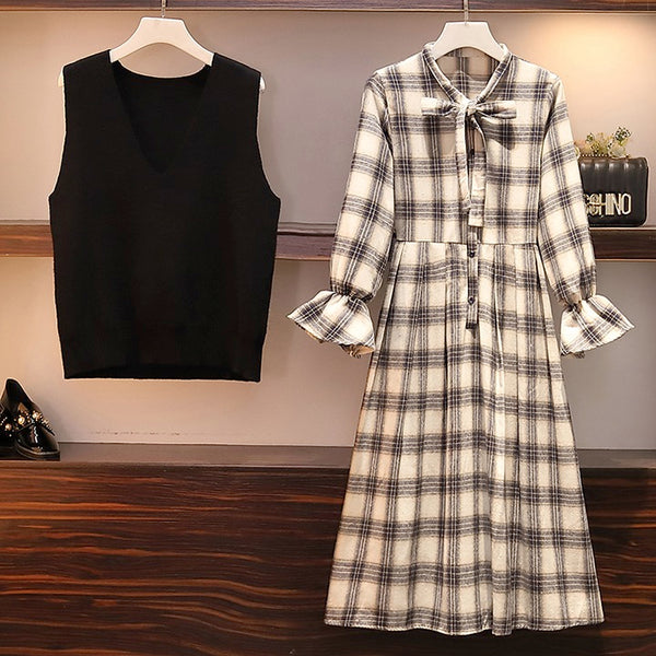 Women Knitted Vest and Long Sleeve Dress 2 Pieces Set