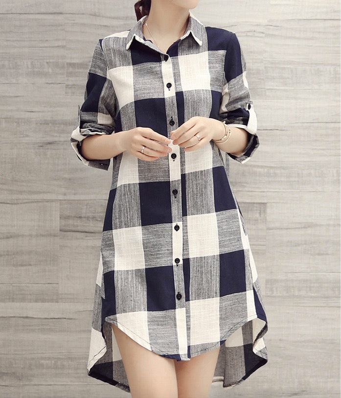 Women's Long Sleeve Shirt Stripe Blouse Button Down Tunic Top