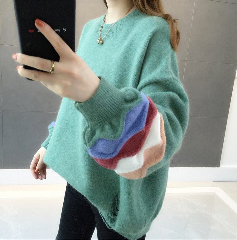 Women's Loose Knitted Crew Neck Long Sleeve Winter Warm Tops Pullover Sweater
