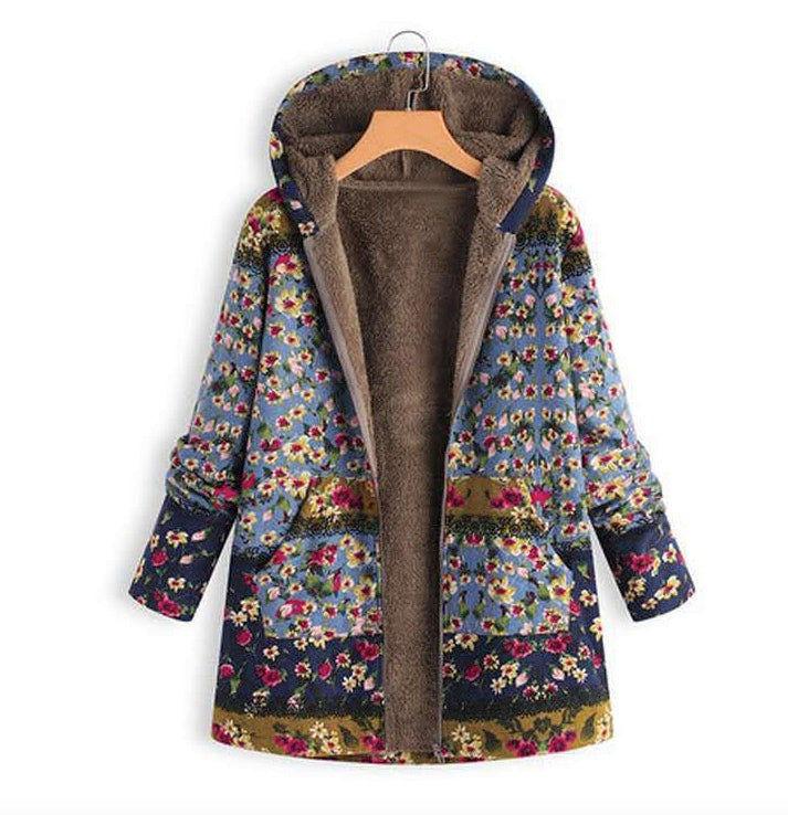 Women's Hooded Warm Flower Cotton Linen Coats Faux Fur Jackets