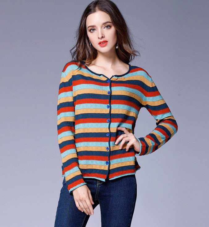 Women's Button Down Striped Knit Cardigan Lightweight Classic Long Sleeve Sweaters