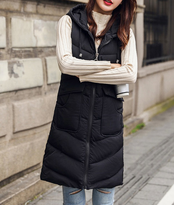 Women Warm Sleeveless Zip Up Hoodie Vest Jacket with Pockets