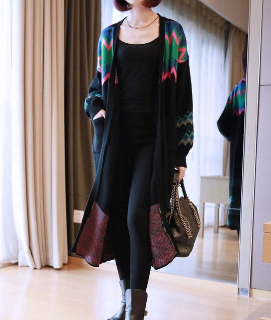 Women's Casual Long Sleeve Open Front Long Cardigan Sweater with Pockets
