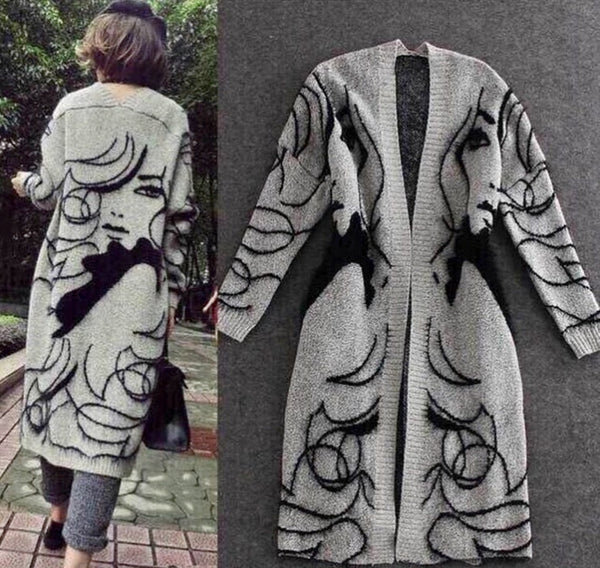 Women's Casual Front Open Long Sleeve Long Cotton Cardigan Top