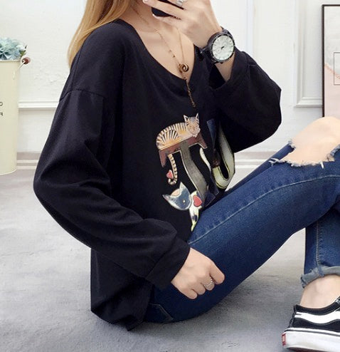 Women's Cotton T-Shirts Casual Tees Round Neck Long Sleeve Tops