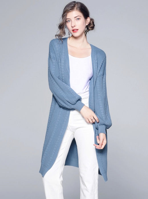 Women's Casual Long Sleeve Open Front Cardigan Knit Sweater Top