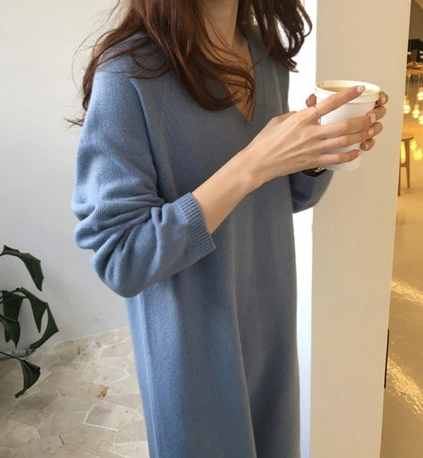 Women's Loose Soft Casual Fit Long Sleeve Maxi Sweater Knitted Lightweight Dress