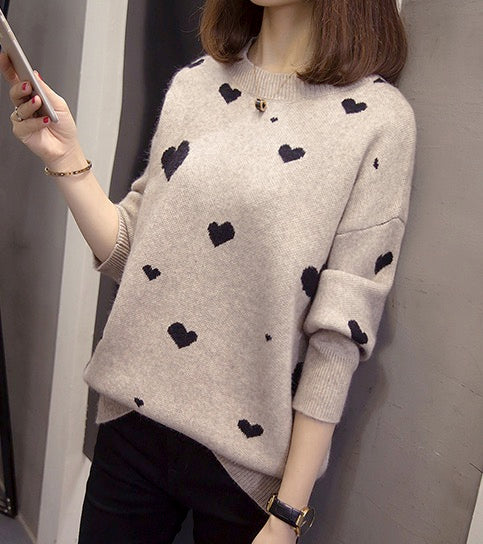 Women Long Sleeve Crew Neck Pullovers Fashion Heart Design Knitted Sweaters