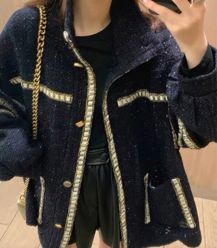 Women's Elegant Long Sleeve Vintage Tweed Jacket Outwear Coat